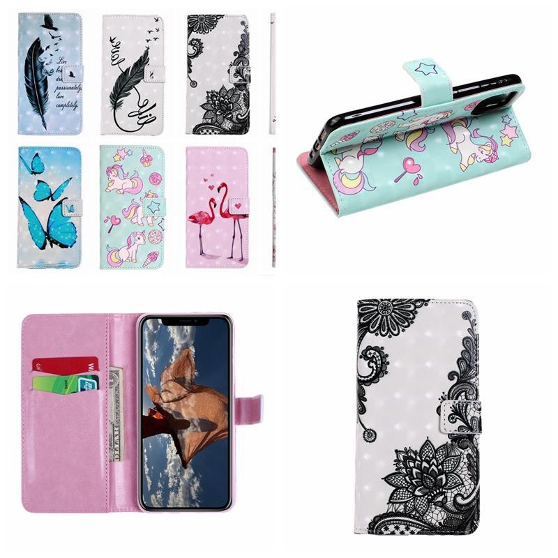 Carteira de couro de flor 3D Capa Para Iphone 12 2020 11 Max Samsung A21S PU borboleta Unicorn Lace Feather amante Pro Flamingo Pássaro tampa flip