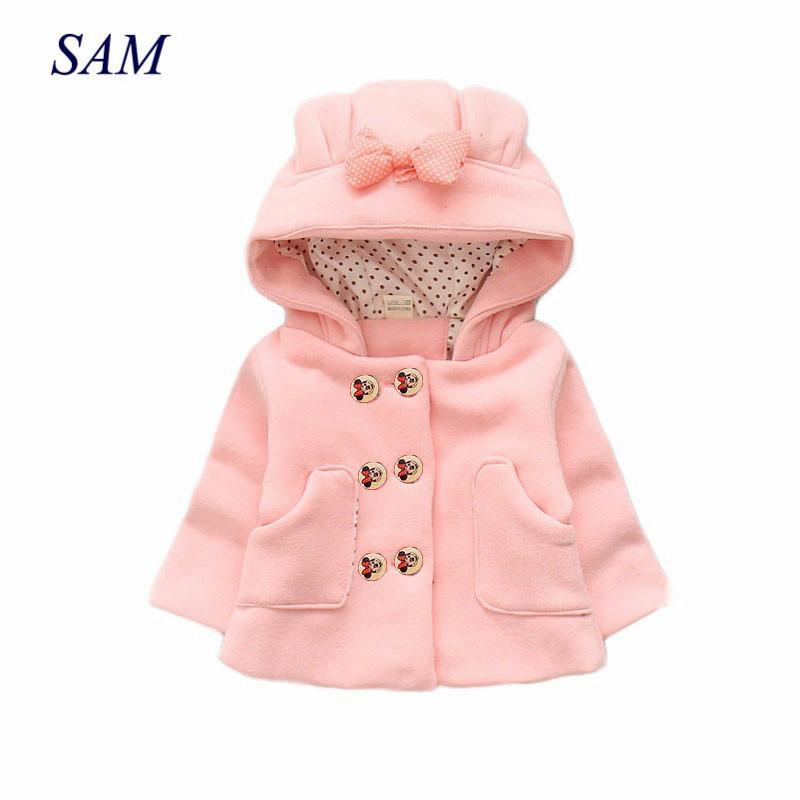 Ragazze casuali spessi cappotti di lana per bambini taschino della camicia di prua con cappuccio doppiopetto capispalla bambino scherza WAM giacche vestiti LJ200916