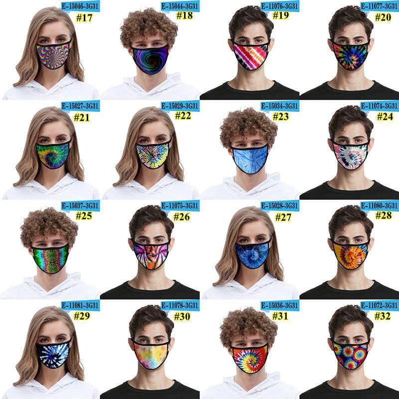 Viso 3D Maschera Uomini Kid donne bocca dello schermo della mascherina antipolvere lavabile Outdoor Sun UV di protezione stilista Tie-Dye Maschera KH675