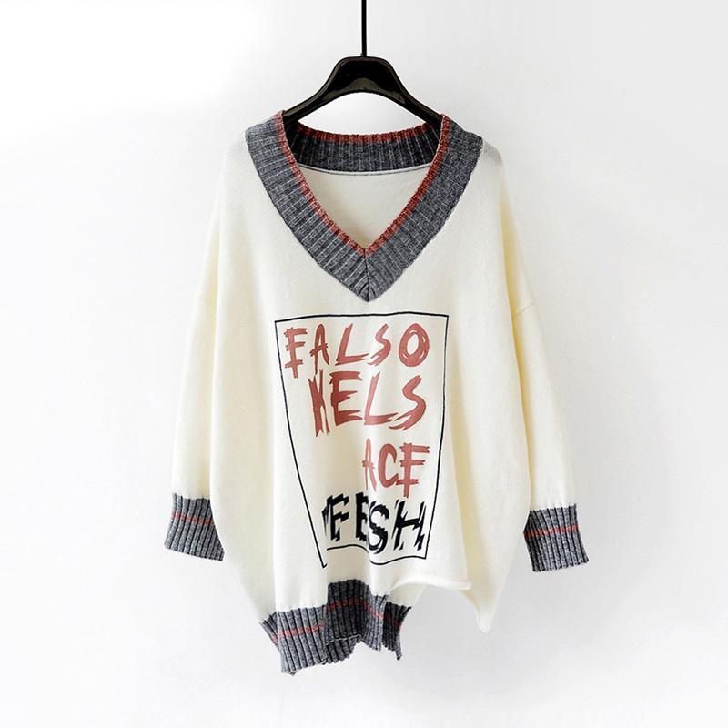 HSA Women Sweaters and Pullovers Autumn Winter V neck Letters Print Pull Jumpers Chic Oversized Knitwear Female Pull Femme T200910