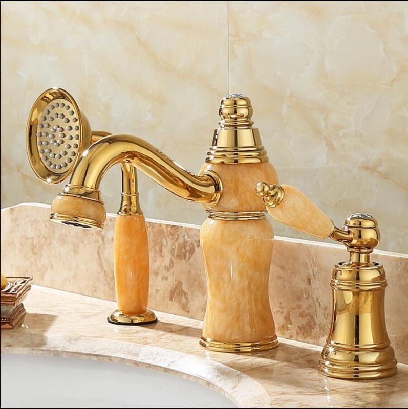 Vidric Badewanne Wasserhahn Messing Gold Deck Waschbecken Wasserhahn Set 3 PCS Messing und Jade Hand Dusche Waschraum Waschtischmischer Tap