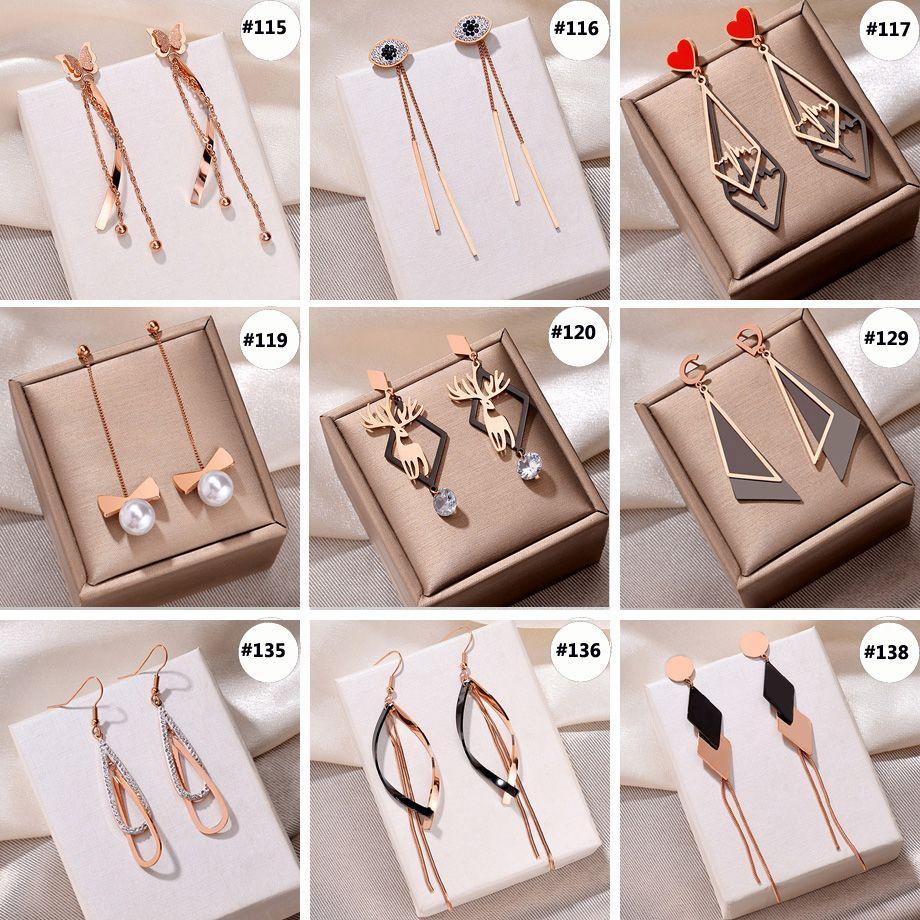 Link-5 Neue Designer baumeln ChandelierTassel Ohrringe für Frauen Art und Weise Bolzen-Ohrring Geschenke Titan Stahl Ohrstecker