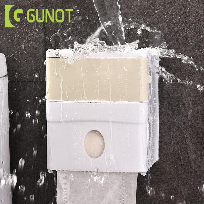Gunot toilettes portatives Supports à papier Murales papier toilette Distributeur Accueil Boîte de rangement étanche pour salle de bain Accessoires