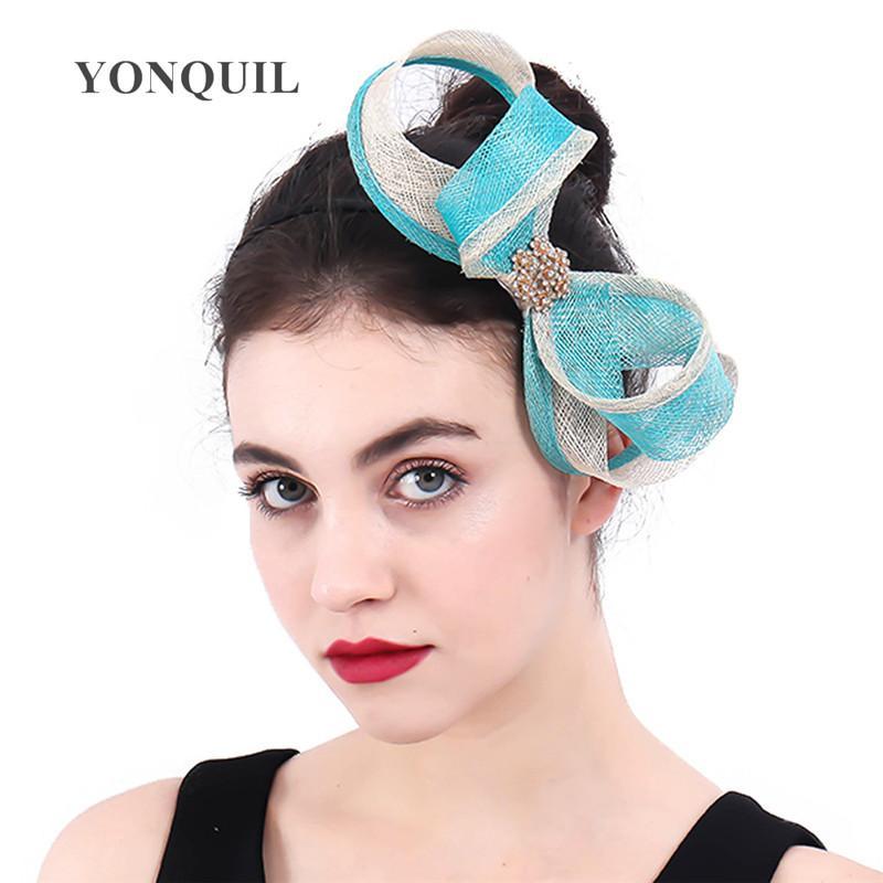 Las nuevas mujeres de la turquesa bucles arco Fascinator con el pelo de damas broche de accesorios de fiesta de la boda de flores banda para la cabeza de la horquilla de sombreros SYF400