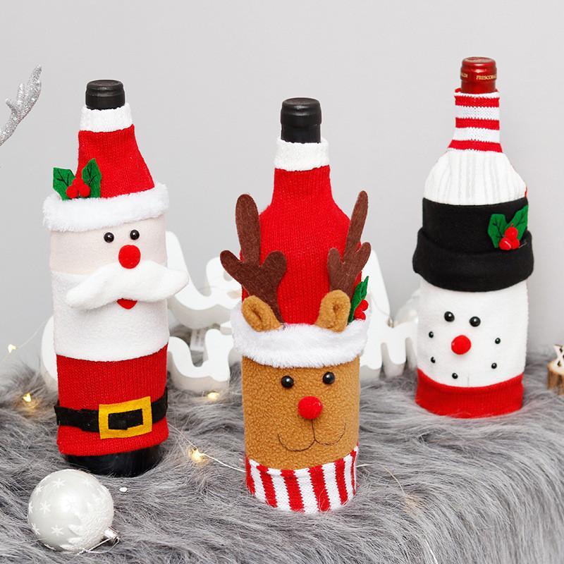عيد الميلاد زجاجة النبيذ تغطية عيد ميلاد سعيد ديكور للمنازل 2020 عيد الميلاد الجدول ديكور عيد الميلاد هدية عيد رأس السنة 2021 الحلي شخصية