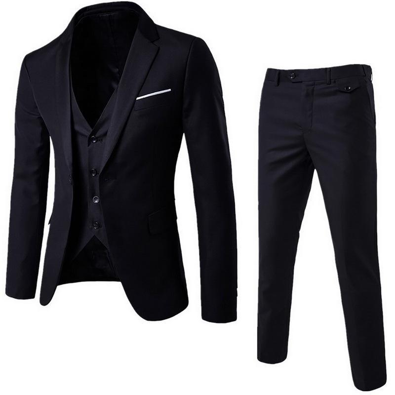 (Blazer + Pant + Vest) 3Pcs / Set nero vestiti sottili Wedding Set Classic Blazers maschio vestito convenzionale vestito di affari Maschio Terno Masculino LJ200907