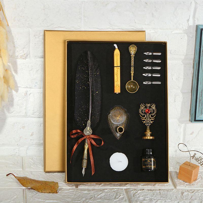 Saupoudrez d'or de luxe Vintage plume d'oie Dip calligraphie stylo à plume d'écriture d'encre 5 Nibs Set papeterie boîte-cadeau