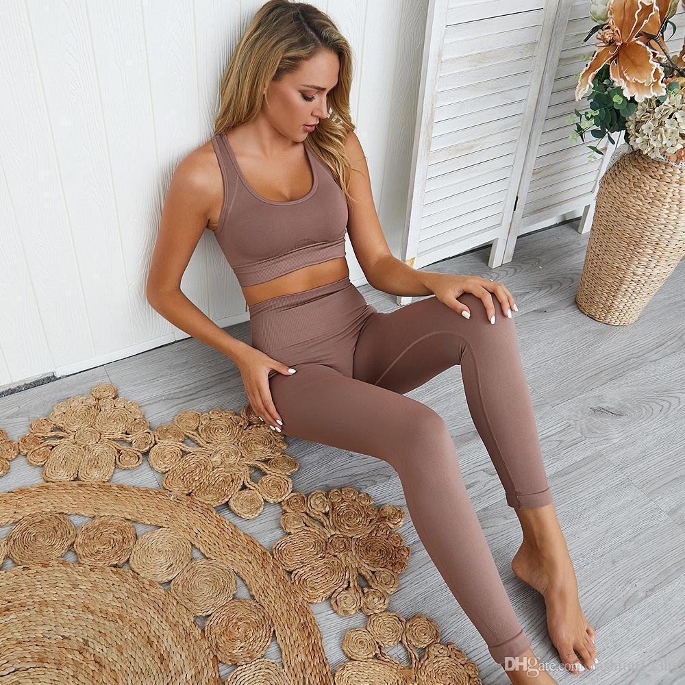 transparente set de entrenamiento mallas deportivas HYPERFLEX y set top trajes de yoga para las mujeres de deportes atléticos conjuntos de ropa de gimnasia 2 pieza