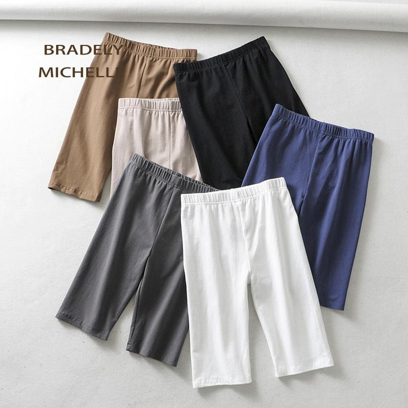 BRADELY MICHELLE sexy women cotton high waist elastic pure color slim Knee-Length bikeshorts leggings female Cl091901
