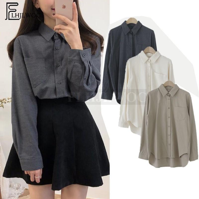 Casuales camisas blusas básicas de las ventas calientes mujeres de muy buen gusto del estilo del diseño de moda de Corea las tapas de bolsillo dulce linda blanca botón de la camisa 3011 200925