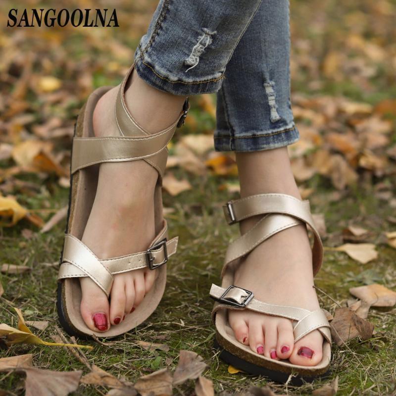 Sandalen Frauen-Ebene öffnen Zehe-Breathable Strand-Sandelholz-Rom-Wölbungs-Bügel-flache Schuhe der reizvollen Frauen-Tropfen-Shop