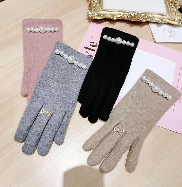 Женская осень зима сгущать теплый кратки жемчужный бисер шерсти перчатки дама сенсорного экрана зимой кашемир вождения перчаток R2276
