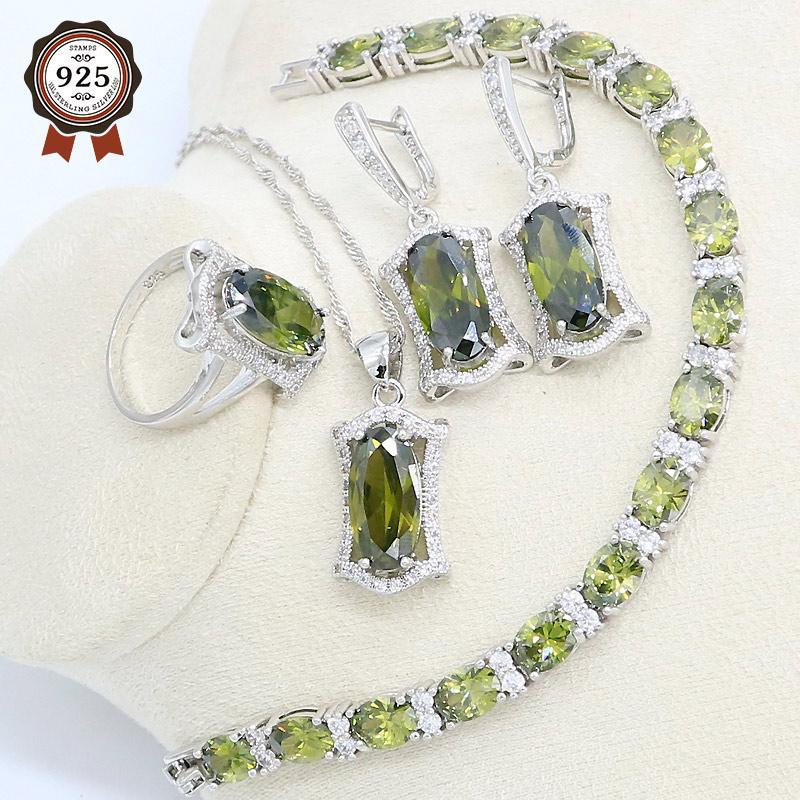 Orecchini Collana Oliva Verde Verde Semi-Precious Silver Silver Jewelry Set per le donne con anello del pendente del braccialetto