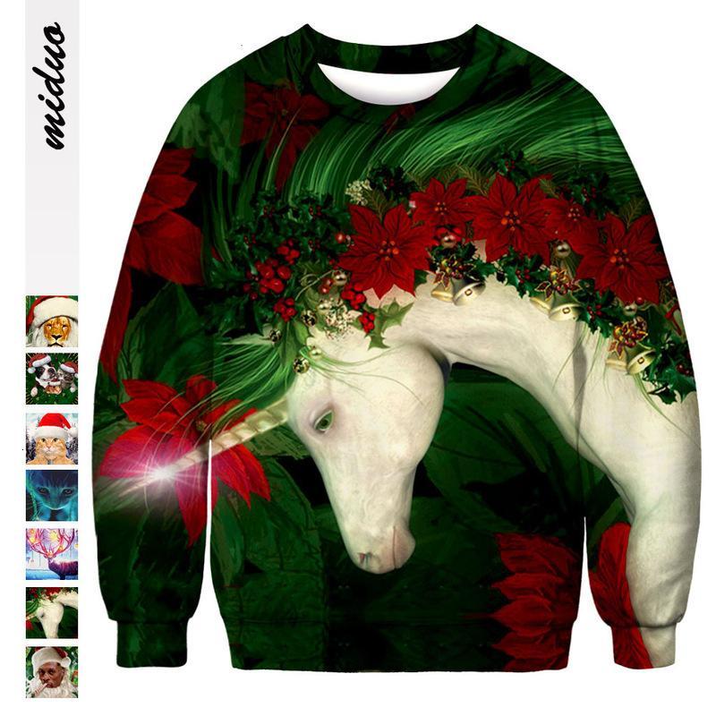 unicornio impresión digital informal suéter de cuello redondo suéter flojo de tendencias calle larga superior de la manga para los hombres