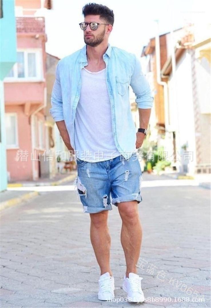 Cep Mens Tasarımcısı Holes Jeans Şort Diz Boyu Sokak Kot Şort Düz Orta Bel Fermuar Fly Şort
