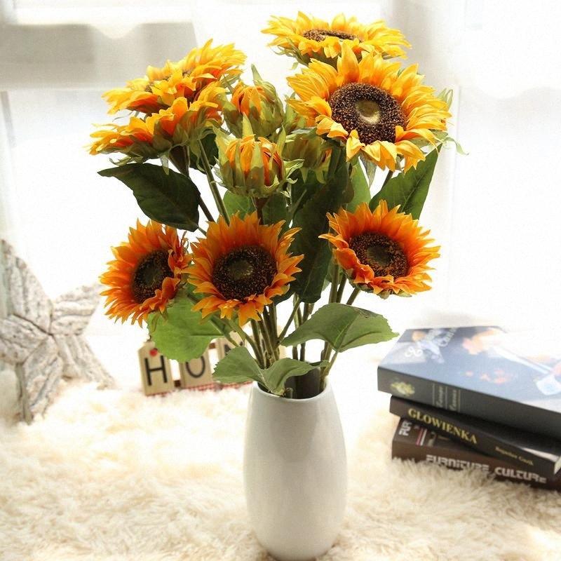Wedding Decoration 3 teste falso Sunflower Bouquet di Natale di seta fiori artificiali della decorazione della casa Accessori o6Pj #