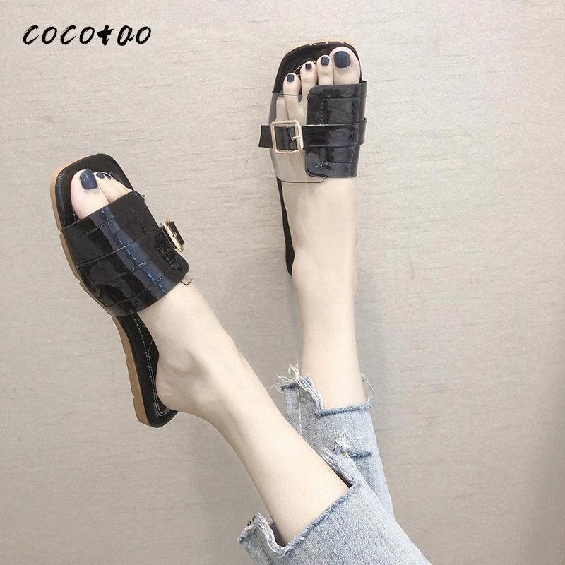 Trasparente sandali femminili estate versione 2020 New coreano delle Outer Wear Moda semplice Quadrato Testa Buckle Word pantofole HdKi #