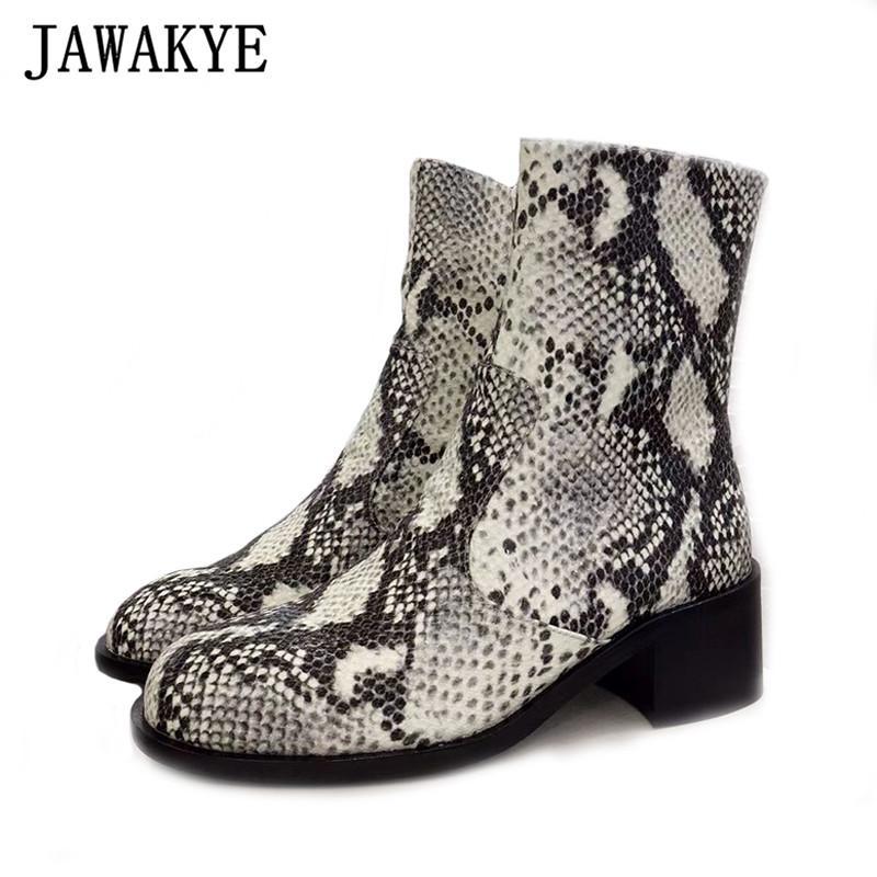 das mulheres Snakeskin Couro Botas Rodada Toe Side Zip Baixa Chunky Heels Runway Designer Botas Sapatos pretos do inverno Mulher