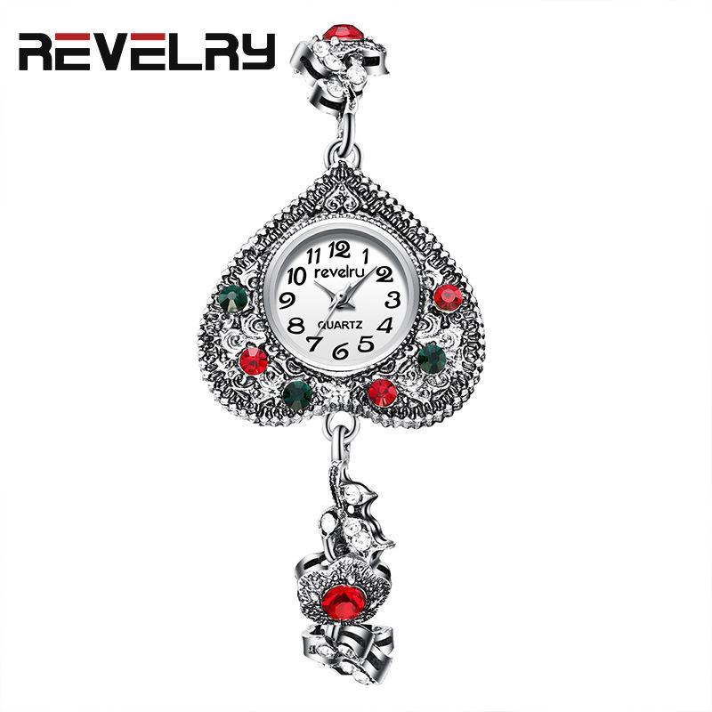 a forma di cuore di marca dell'annata Watch Watches del braccialetto delle donne casuale Piccolo orologio da polso colorato signore orologio al quarzo