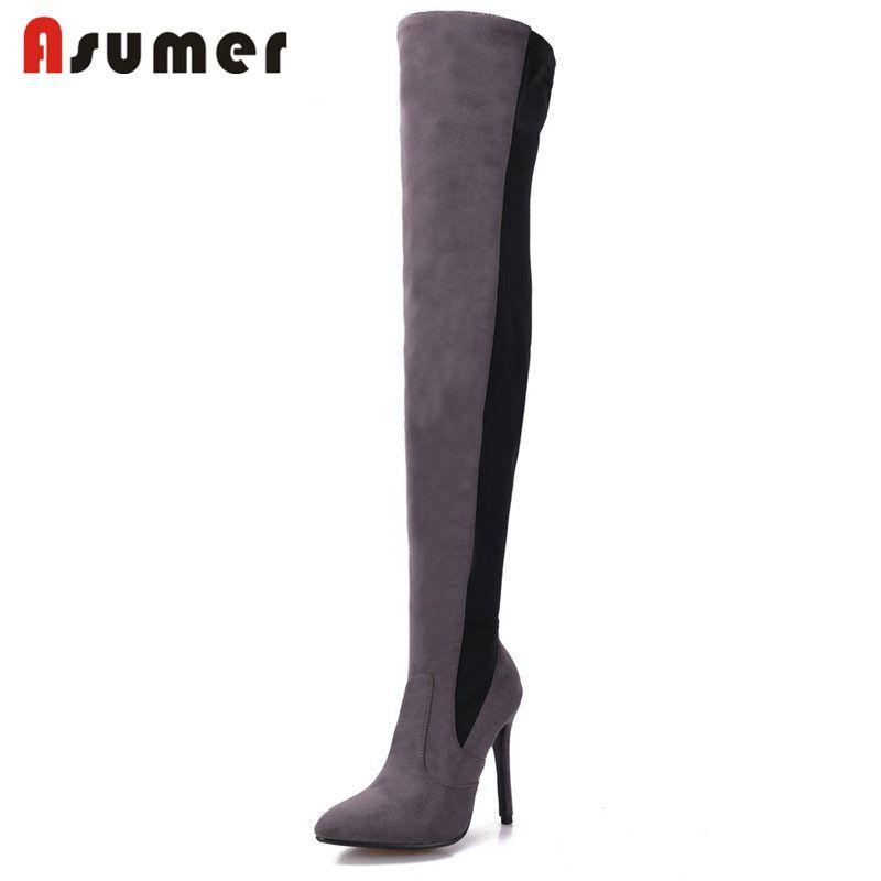 ASUMER PLUS TAILLE 34-43 2020 mode nouveau super hauts talons sur les bottes genou femmes troupeau + bottes en tissu stretch hiver