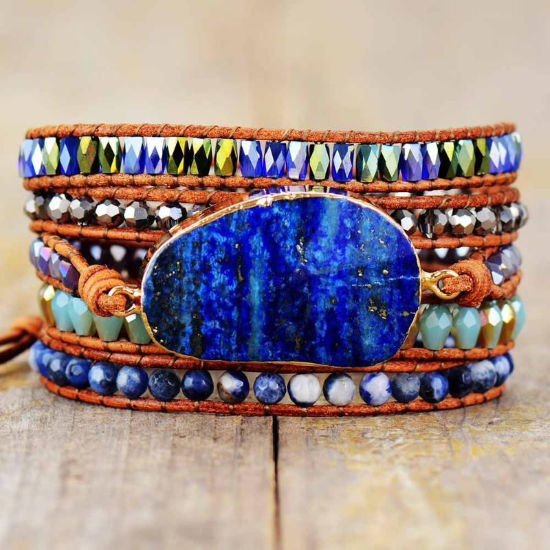 Exclusive Wrap Bracelets with Natural Stones Lapis Lazuli Leather Strap Woven Beads Bracelets Jewelry Femme Dropshipping