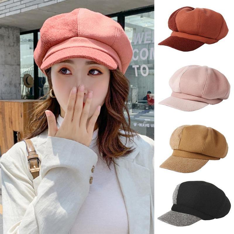 Auutmn chapeaux d'hiver pour les femmes octogonal Newsboy Cap Avslappnad Coton Chapeau d'hiver Beret femmes Peintre Cap
