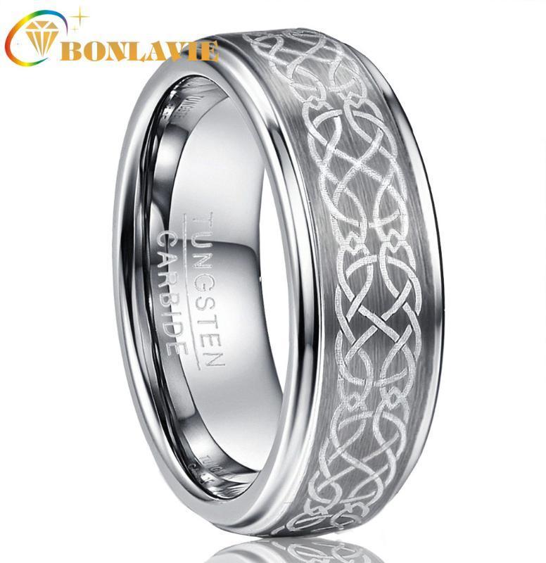 Wolframkarbid Wedding Band Ringe Ringe der Männer 8mm Plattierung Laser Mode Knot Brushed poliert Schritt bequemer Sitz Größe 6-14