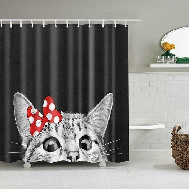 Sevimli Kedi 3D Baskılı Perde Karikatür Hayvan Polyester Kumaş Banyo Perde Banyo Perde Dekorasyon Duş Perdeler