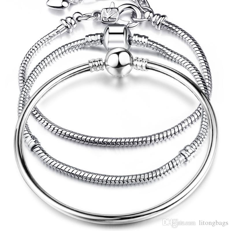 17-21 см Серебряные покрытые змеиной цепи Ссылка высокого качества Браслет Fit Европейский браслет очарования для женщин DIY ювелирных изделий