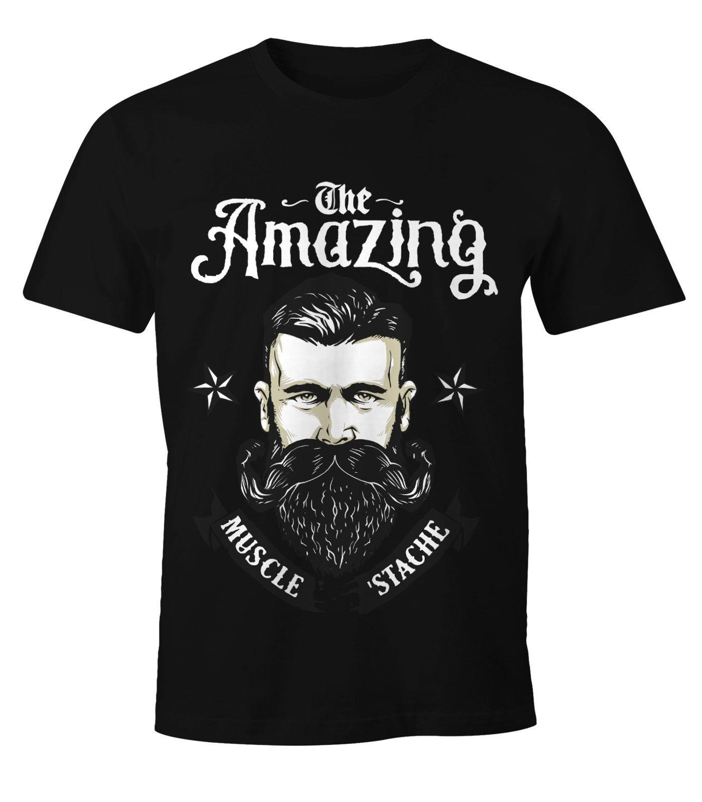 Herren T-Shirt - Barbe The Amazing Muscle Mustache Bart Barber Shop Barbier 100% coton à manches courtes O col Hauts T-shirts