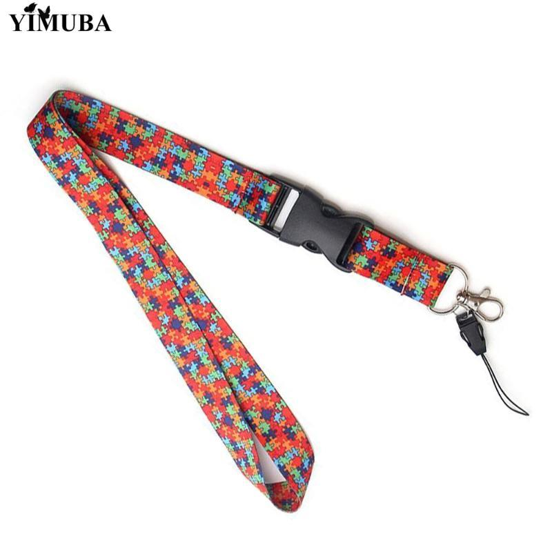 YIMUBA Autism Awareness Puzzle Piece Lanyard Keychain Webbing Ribbon Hang Rope with Key Ring ID Card Pass Gym Badge Holders Gift