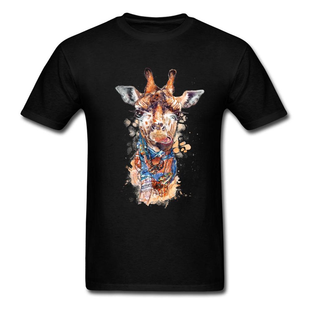 Personalizado camisetas Skyrim Whippet Boy camisetas Dibujo de la jirafa Pintura Camiseta ocasional del diseño del arte del Día de Acción de Gracias Tops Camisas hombres