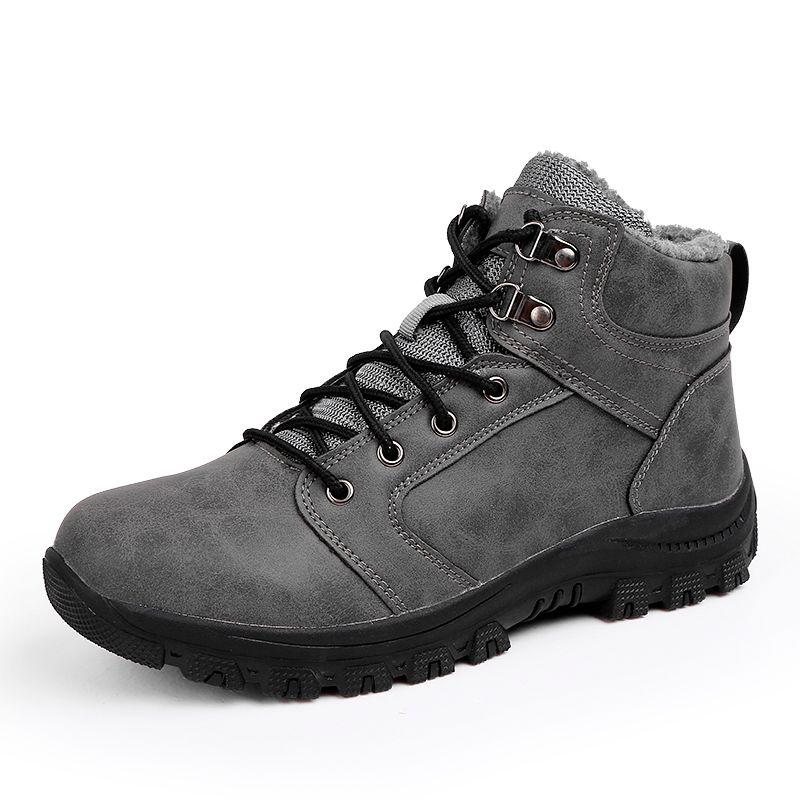 Botas de couro Homens 2020 sapatos de inverno Qualidade tornozelo botas de pele Linging homem da neve dos homens de ankle boot sapatos de neve Work Plus Size 39-47