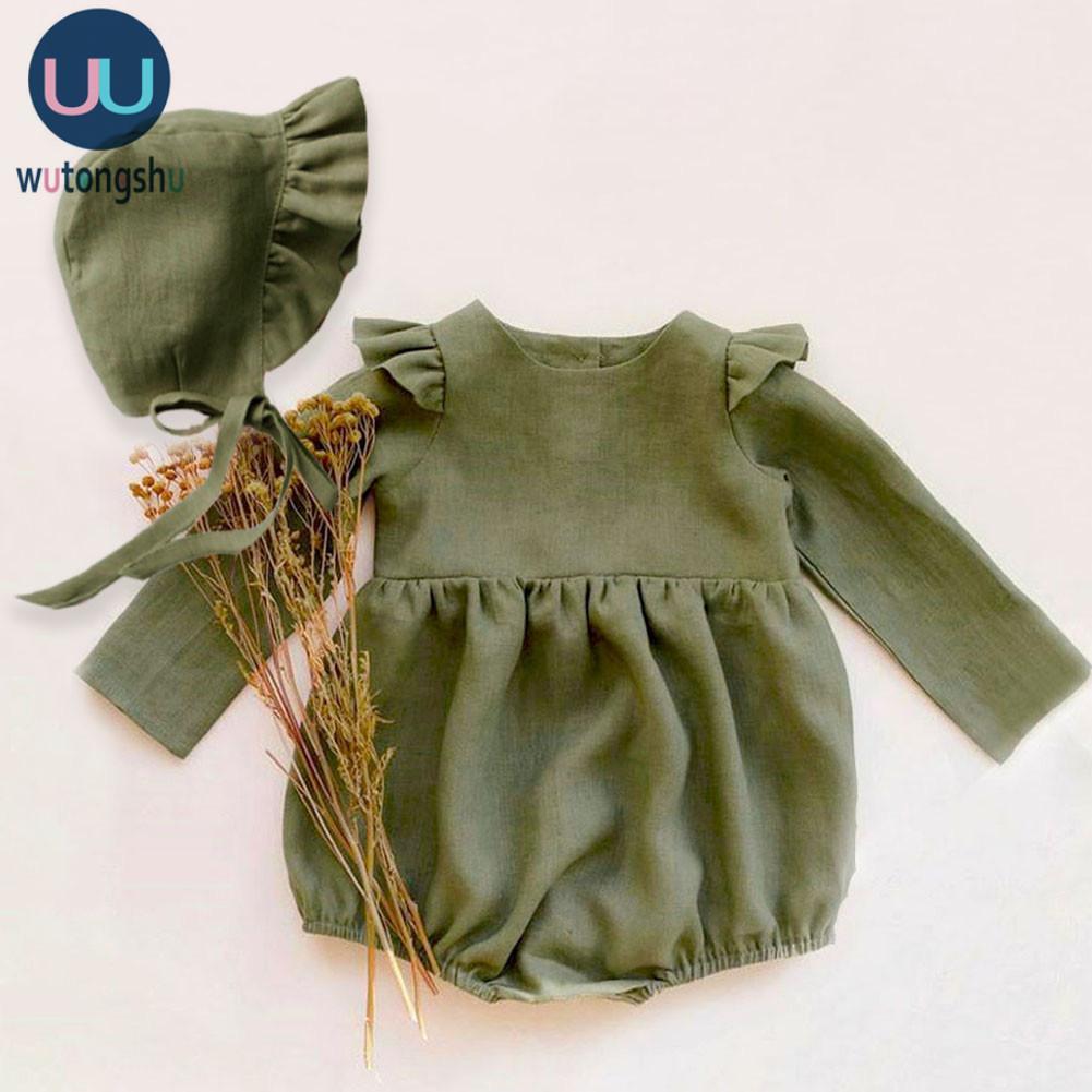 Baby-Strampler Solid Color Langarm-Babykleidung Jumpsuits 0-24M 100% Baumwolle Leinen Neugeborene Baby-Kleidung 200918