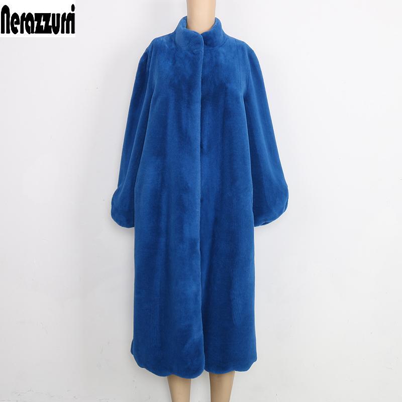 Nerazzurri Fluffy blu nero elegante di colore rosa inverno cappotto donne finta pelliccia peloso lunga più dimensioni moda caldo cappotto di pelliccia T200915