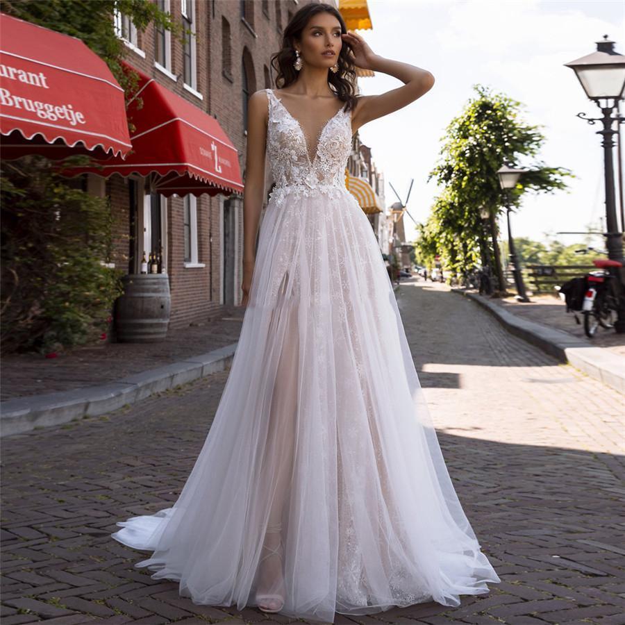 2020 Sexy V-cou dentelle robes de mariage Appliques perles sexy dos nu Belle porter de longues femmes de mariage personnalisé Robes De Mariee