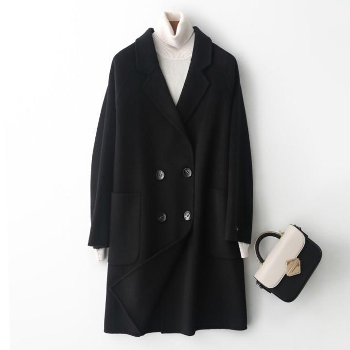 capa mitad de la longitud de la cachemira 2020 de otoño e invierno de las mujeres, de diseño elegante, traje de cuello, chaqueta de lana cruzado, chaqueta de invierno cálido