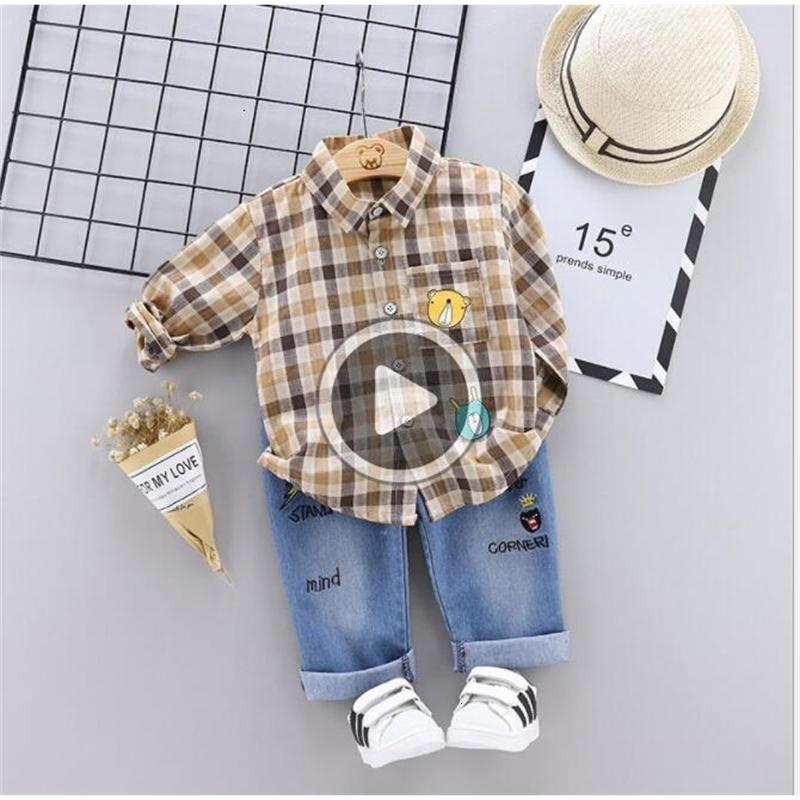 New Best-selling Children's Autumn Suit Boy's Tie Long Sleeve Checker Pants Two-piece Suit Factory Direct Selling