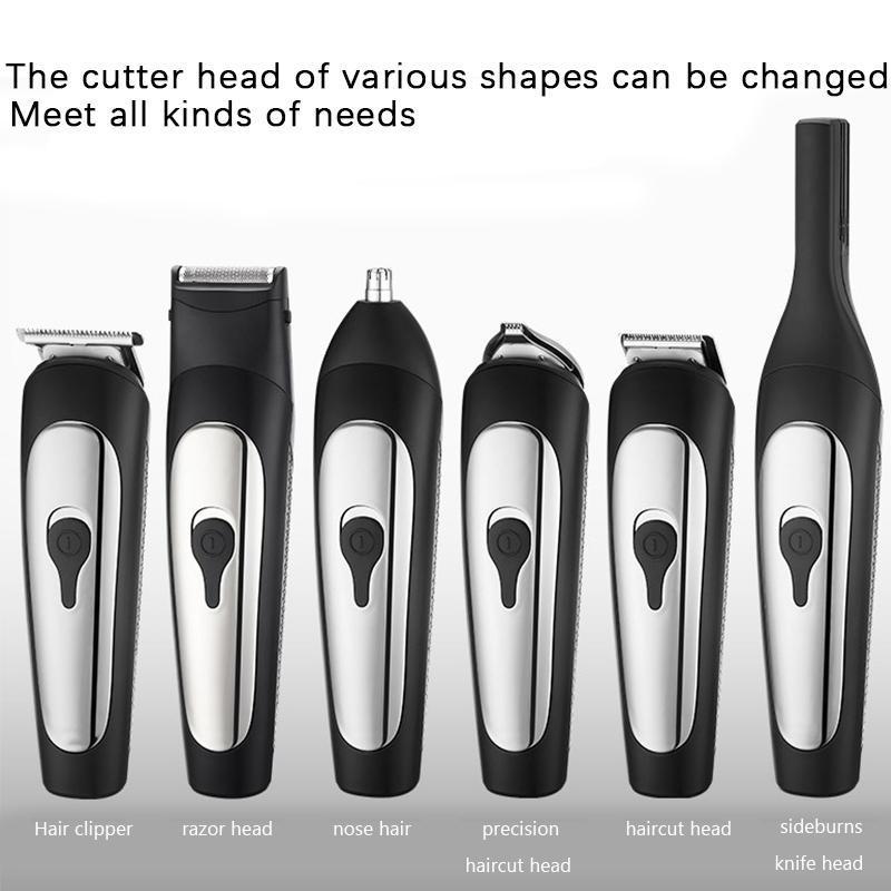 6 em 1 Elétrica Clipper cabelo para homens USB recarregável Low Noise Adequado para Facial Barba Cabelo e restolho aparamento JK1