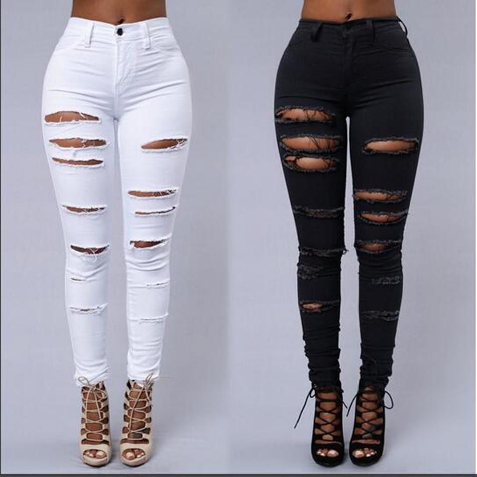 Autunno Skinny Jeans denim delle donne Pantaloni Fori distrutti ginocchio pantaloni della matita Pantaloni Nero Bianco Stretch jeans strappati