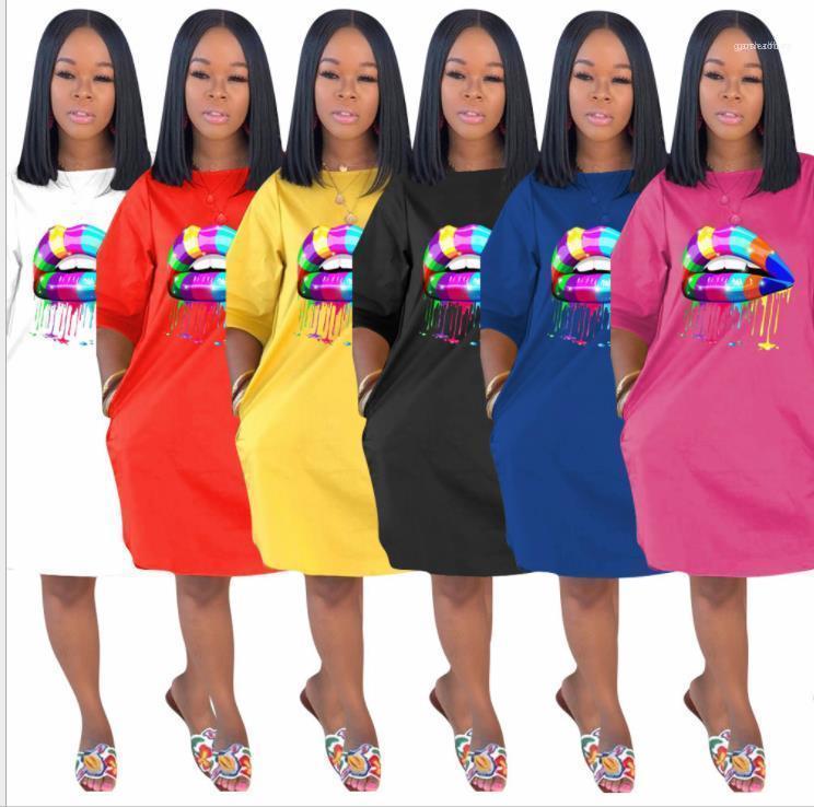 Crew Neck Сыпучие Плюс размер платья Женщины Мода Твердые цвета Повседневная одежда Женская 3D Губы Печать Tshirt летнее платье дизайнера