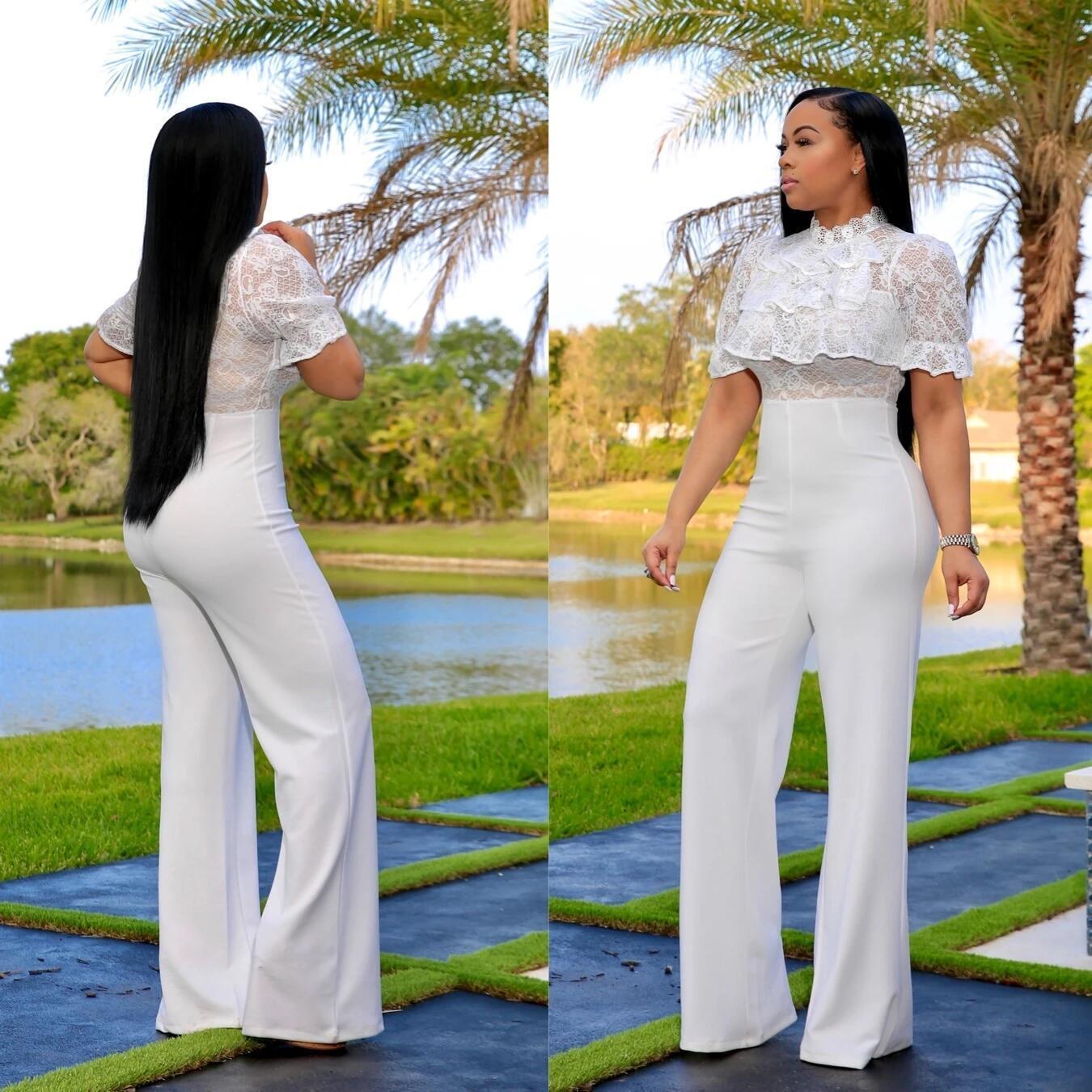 xG9pp 2020 nouvelle dentelle large crochet femmes douce Qing jambe taille haute dentelle couleur creux solide jumpsuit zvEej