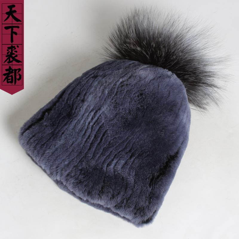 2020 New Lady 100% natural Real Rex chapéus de pele de Inverno Mulheres Genuine Rex Fur Cap moda grande prata bola de Chapéus