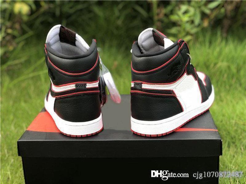 Yeni En İyi Hava Otantik 1 Yüksek OG Bloodline Siyah Basketbol Ayakkabı Spor Kırmızı-Beyaz Retro Erkekler Kadınlar Spor Spor ayakkabılar Kutusu ile 555088-062