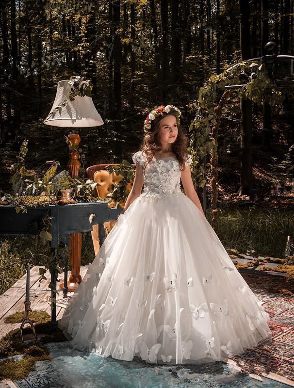 Sweep tarin Butterflies 3D Flowers Jewel Kids Formal 2020 Custom Made Tulle Covered Back Flower Girl Dresses
