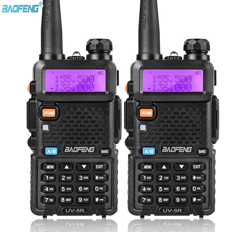 2PC BAOFENG UV5R اسلكية تخاطب راديو CB المهنية جهاز الإرسال والاستقبال باوفينج UV5R 5W ثنائي الموجات راديو VHFUHF يده اتجاهين