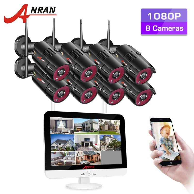 CCTV مراقبة فيديو كيت الأمن الرئيسية نظام كاميرا 1080P HD ليلة في الهواء الطلق الرؤية واي فاي كاميرا 12 بوصة مراقبة NVR أطقم ANRAN