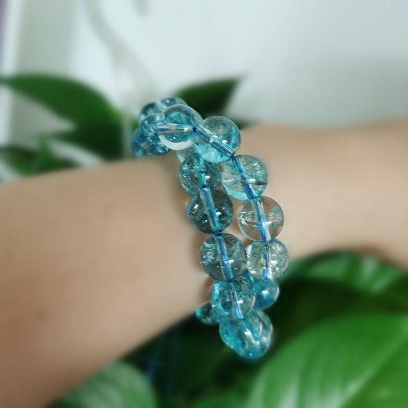 AOVpA naturales palomitas redondo cristalino lago floja DIY perlas de cristal de color azul artesanal DIY con granos de los accesorios