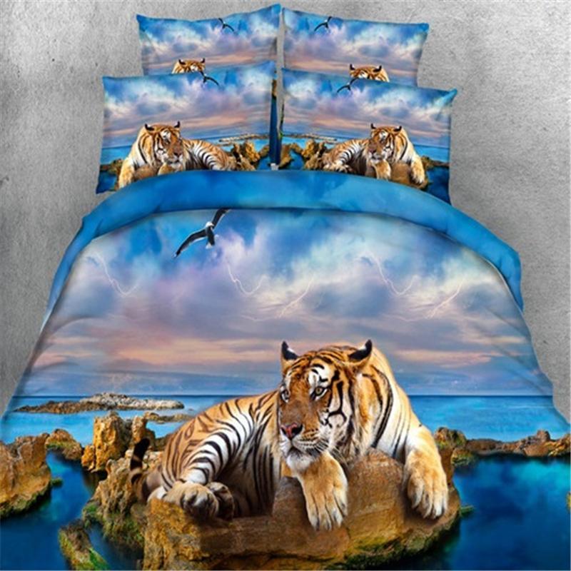 Patlayıcı yatak plaj kaplan üç parçalı dört parçalı ev yatak seti kraliçe yatak nevresim setss