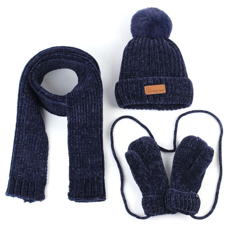Осень и зима Детские Hat шарф перчатки Set Теплое вязания Акриловые громоздкая Beanie и шарф для мальчиков девочек Дети Детские Bonnet